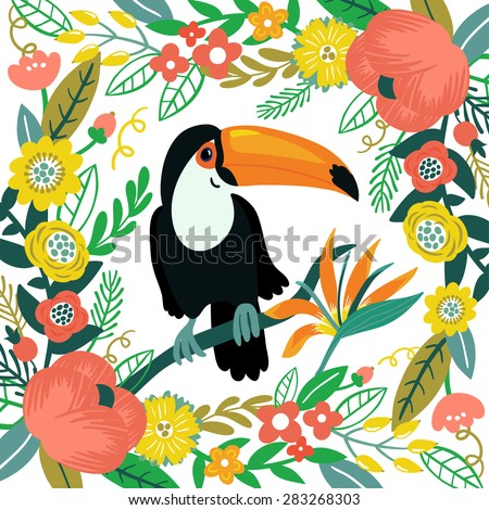 Vector illustration with toucan, beautiful floral elements: flowers, leaves, branches and berries. Vintage exotic background. Flower frame with cute bird. - stock vector