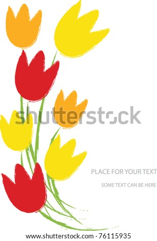 vector illustration with tulip flowers and place for your text - stock vector