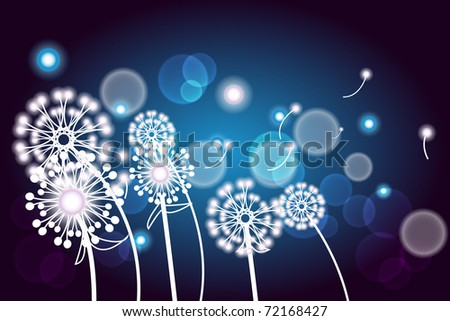 Vector illustration with white twig with flowers on a dark blue background - stock vector