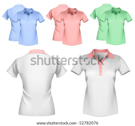 Vector illustration. Woman color and white polo shirt design template. - stock vector