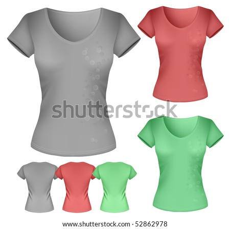 Vector illustration. Women's t-shirt template. - stock vector