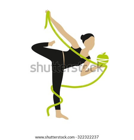 Vector illustration Women with measuring tape isolated on white background. active women. - stock vector