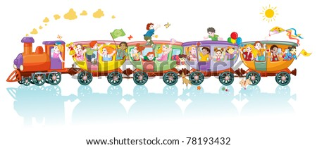 Vector illustration, world kids train, cartoon concept, white background. - stock vector