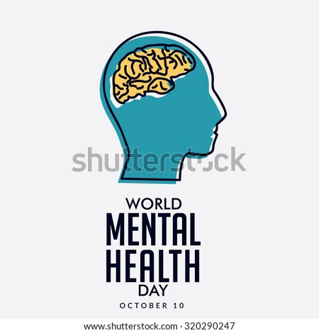 Vector illustration World Mental Health Day. - stock vector