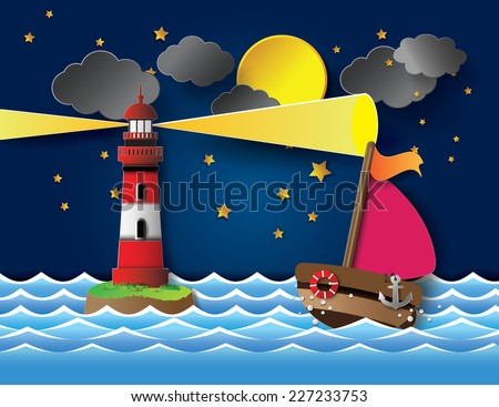 Vector illustration yacht on sea night full moon with lighthouse.paper cut style. - stock vector