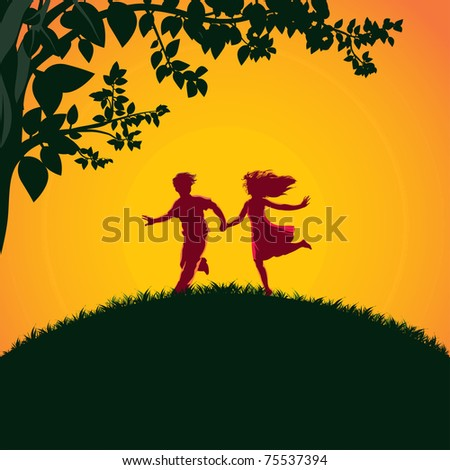 Vector illustration, young people in nature, card concept. - stock vector