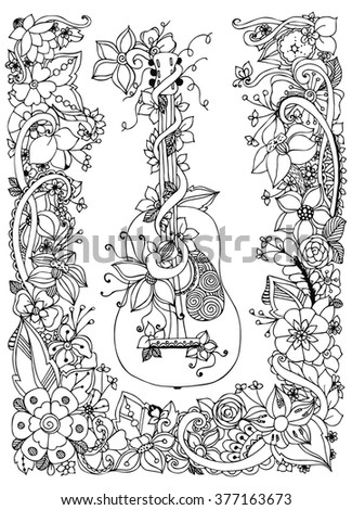 Vector illustration zentangl guitar with flowers in a frame of flowers, acoustics, strings, flowers, doodle, zenart. Adult coloring books. Black and white.  - stock vector