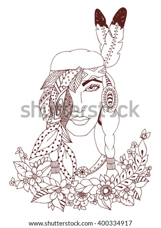 Vector illustration zentangl woman, girl American Indian nationality. Doodle portrait, flowers. feathers. Coloring book anti stress for adults. Black and white. - stock vector