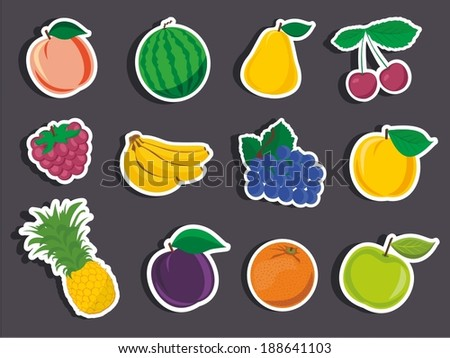 Vector illustrationf of a cartoon stickers of fruits - stock vector