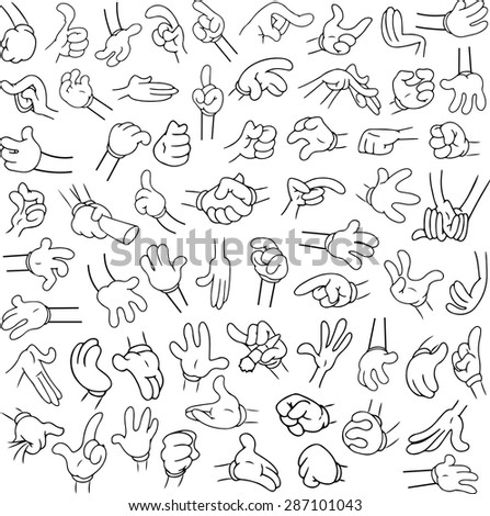 Vector illustrations lineart pack of cartoon hands in various gestures. - stock vector