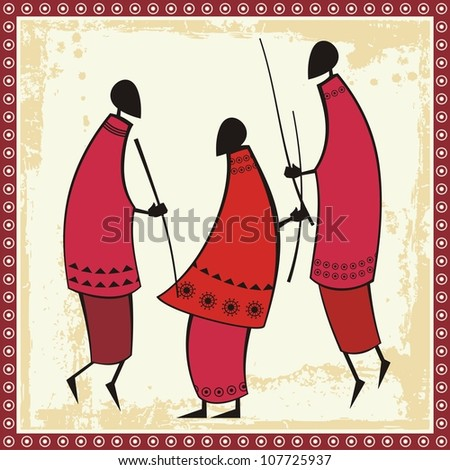 Vector illustrations of African Masai warriors in traditional clothing. - stock vector