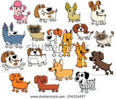Vector Illustrations of Cartoon Dogs and Cats of all different Breeds and colors - stock vector
