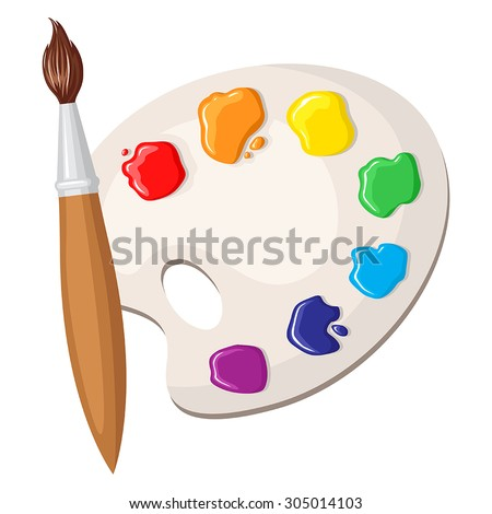 Vector illustrations of cartoon paintbrush and palette of paints seven colors of rainbow - stock vector