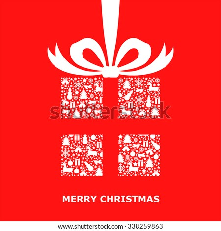 Vector illustrations of Christmas card with patterned gift decorated bow - stock vector