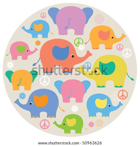 Vector illustrations of colorful elephants. - stock vector