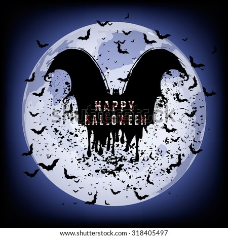 Vector illustrations of halloween night with bats flying over blue moon. - stock vector
