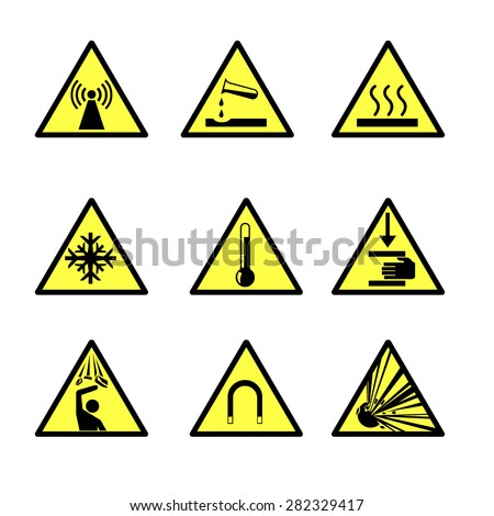 Vector illustrations of hazard warning Icons. Industrial warning triangle signs. Danger warning symbol Icons. - stock vector