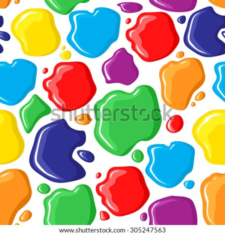 Vector illustrations of pattern seamless of multicolor paints drops and spots - stock vector