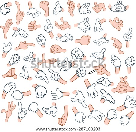Vector illustrations pack of cartoon hands in various gestures. - stock vector