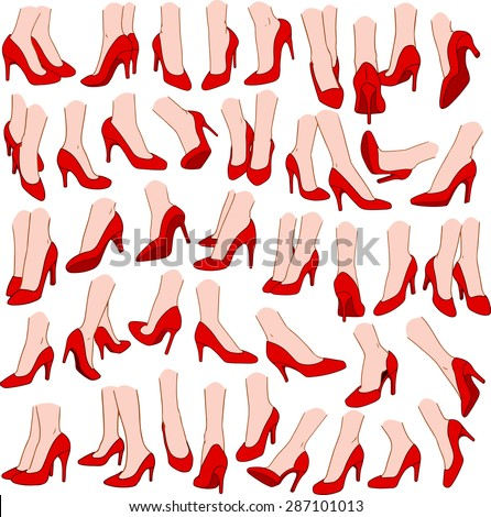 Vector illustrations pack of woman feet wearing red high heel in various gestures. - stock vector