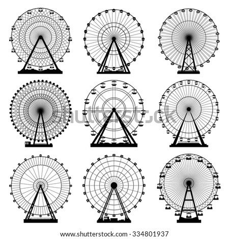 Vector illustrations set. Ferris wheel. Carnival. Funfair background.  - stock vector