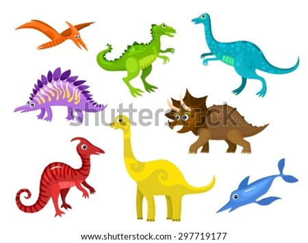 vector illustrations set of a colorful dinosaurs - stock vector