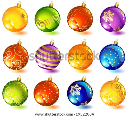 vector illustrations - twelve christmas glass ball - stock vector