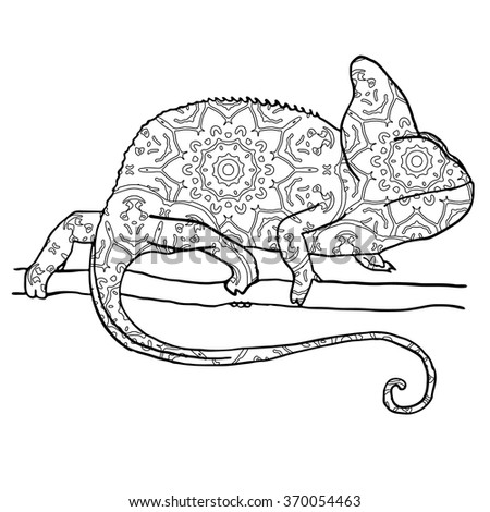 Vector illustraton of chamaleon with hand drawn pattern. Reptile isolated on white. Zentangle style illustration. Illustration for adult coloring - stock vector