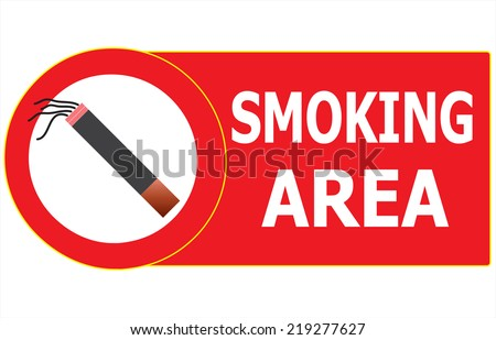 Vector illustrator of Permitted Smoking Cigarette Area Sign Vector. - stock vector
