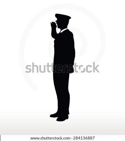 Vector Image - army general silhouette with hand gesture saluting 