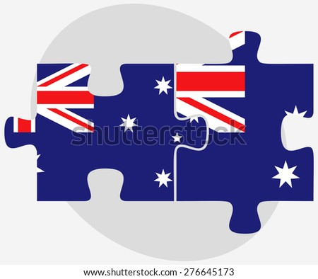 Vector Image - Australia and Australia Flags in puzzle isolated on white background - stock vector