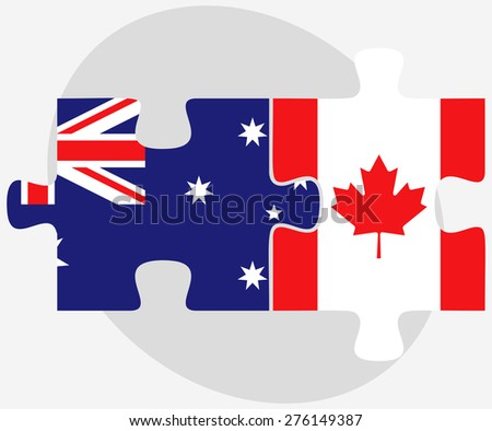 Vector Image - Australia and Canada Flags in puzzle isolated on white background