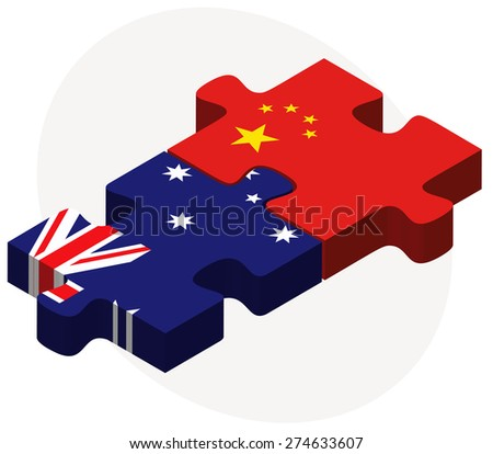 Vector Image - Australia and China Flags in puzzle isolated on white background - stock vector