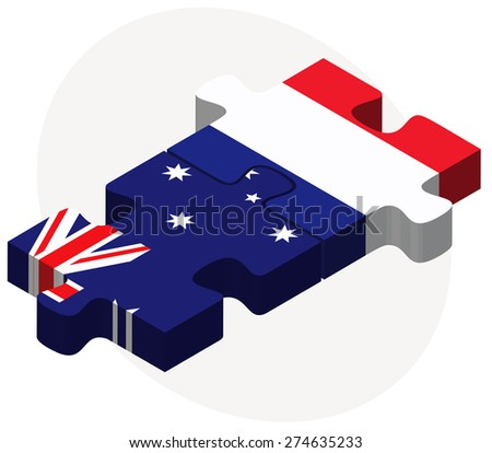 Vector Image - Australia and France Flags in puzzle isolated on white background - stock vector