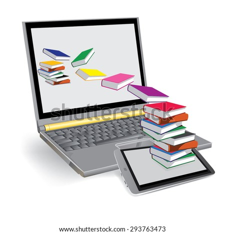 Vector Image, books fly out of the tablet and fly into the laptop. - stock vector