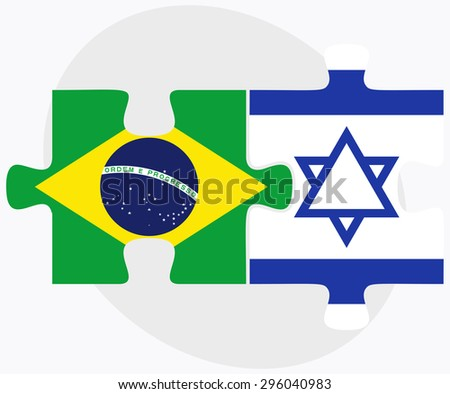 Vector Image - Brazil and Israel Flags in puzzle isolated on white background - stock vector