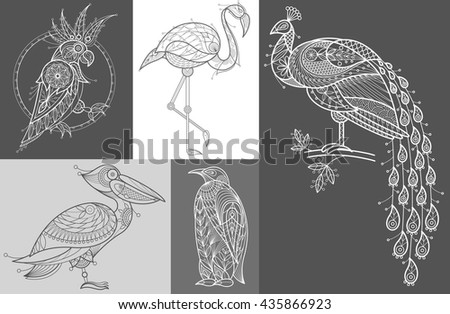 Vector Image cockatoos, flamingos, pelican, penguin, peacock. Set of abstract birds illustrations. Black and white. The concept of unusual design objects of nature. - stock vector