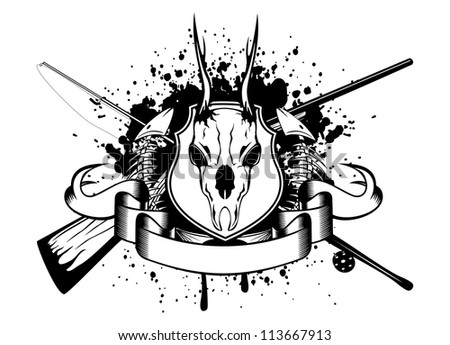 Vector image crossed fishing tackles and guns, skeleton of fishes and roe - stock vector