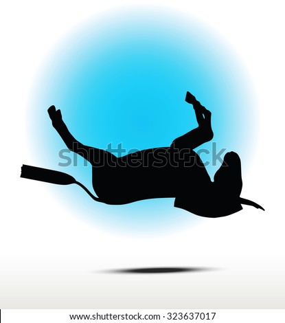 Vector Image, donkey silhouette, in falling pose, isolated on white background  - stock vector