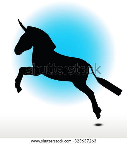 Vector Image, donkey silhouette, in leap pose, isolated on white background  - stock vector