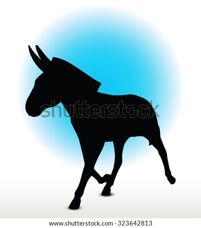 Vector Image, donkey silhouette, in trot pose, isolated on white background  - stock vector