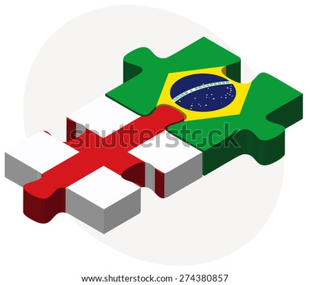 Vector Image - England and Brazil Flags in puzzle isolated on white background - stock vector