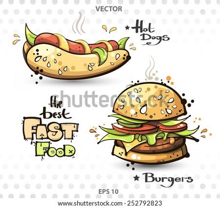 vector image. fast food. hot dog. burger - stock vector