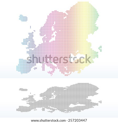 Vector Image - Map of Continent of Europe with Dot Pattern - stock vector