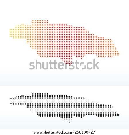 Vector Image - Map of Jamaica with Dot Pattern - stock vector