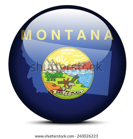 Vector Image - Map on flag button of USA Montana State - stock vector