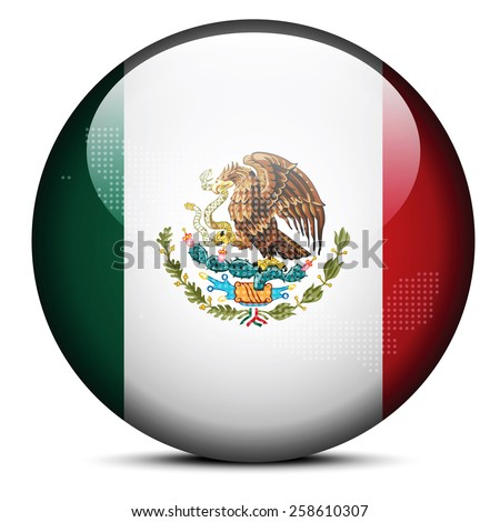 Vector Image -  Map with Dot Pattern on flag button of United Mexican States - stock vector