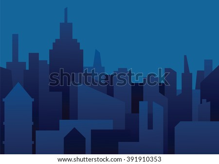 Vector image of a background of night city. Night city in dark blue tones. Flat style. Silhouettes of buildings on a dark blue night background. Vector illustration of night city background. - stock vector