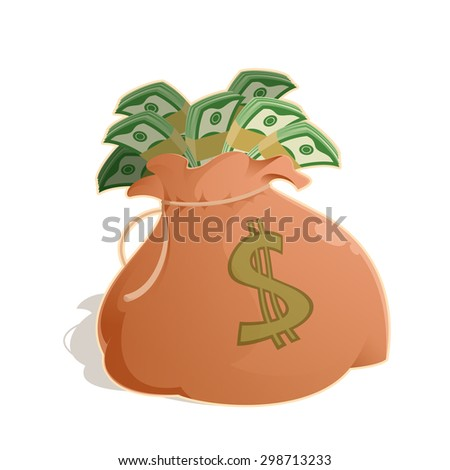 Vector image of a bag with money - stock vector