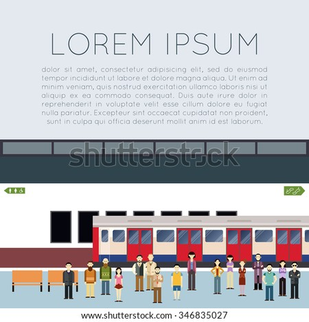 Vector image of a banner with subway train and people on the station - stock vector